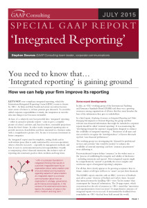 Special GAAP Report -Integrated Reporting July 2015
