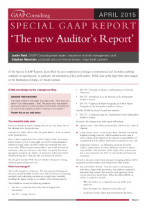 Special GAAP Report - New Auditor's Report Apr 2015